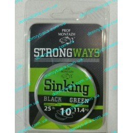 Поводковый материал тонущий  Проф монтаж Black Green 0.30мм  10м 11,4 кг 25LB weed(9996140)
