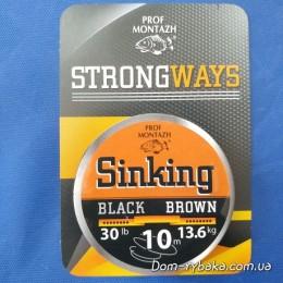 Поводковый материал тонущий  Проф монтаж Black brown 0.35 мм  10м 13,6 кг 30 LB (9996964)