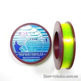 Леска Черниговская 0.34 мм 7.5 кг  100м флуо-салатовая (9996610)