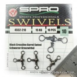 Вертлюг тройной Spro Crossline Swivel 10s 15кг 10шт(4552210)