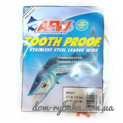 Поводковый материал AFW ToothProof Stainless Steel Single Strand Leader 9.2м  (9997834)