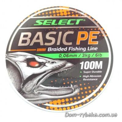 Шнур Select Basic PE 100м 0,06мм 3кг 6LB зеленый  (9997156)  фото