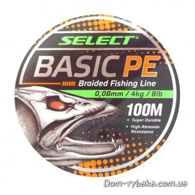Шнур Select Basic PE 100м 0,08 мм 4 кг 8 LB оранжевый  (9997157)  фото